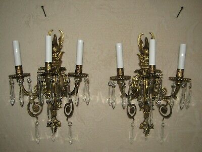 2 -30's FRENCH EMPIRE SOLID BRONZE ANTIQUE SCONCES SWANS 6 SERPENTS 32 CRYSTALS