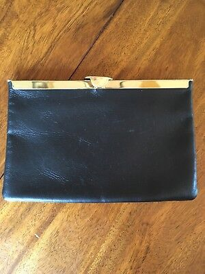 """Vintage Etra clutch and chain purse, black leather, gold tone ware, 9 x 6 x .5"""""""