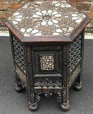 Fine Antique Anglo Indian Ottoman Moorish Inlaid Occasional Table Restoration