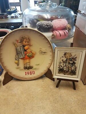 Set of 2...1980 HUMMEL ANNUAL COLLECTOR PLATE & FLOWER GIRL PLAQUE FREE SHIPPING