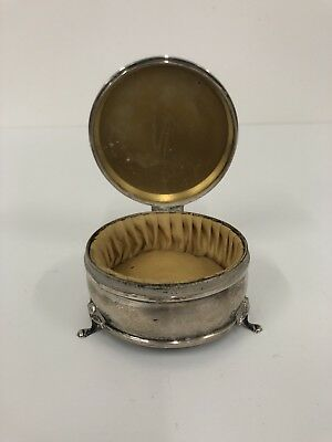 19th century English Sterling Silver Powder Jewelry Makeup Box Signed