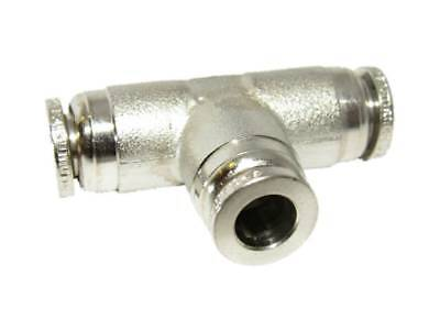 Numatics 1/4 PTC  Push to Connect Union Tee Nickel Plated Brass Fitting