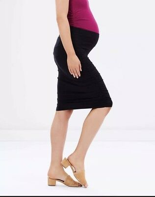 NEW Bamboo Body Maternity Ruched Bamboo Skirt - Black - Sz M