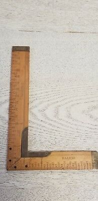 "Vintage Rare Small 6-Inch Wood W. Brass Trim ""Lufkin"" Tailor Square antique tool"