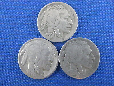 3 Pc U.s. Buffalo Nickel Coin Lot 1920 D 1920 S 1920S