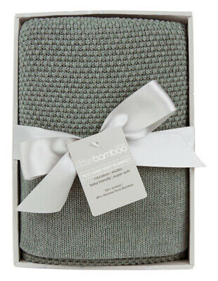 NEW Little Bamboo Textured Knit Blanket - Whisper Sage