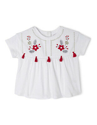 NEW Sprout Girls Embroidery Top White