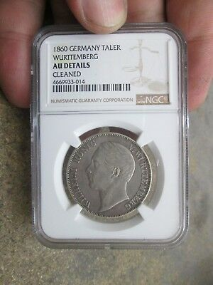 1860 German States Wurttemberg One Thaler Silver Coin NGC AU Details Cleaned NR