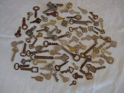 Lot of 79 Vintage / Antique Flat Keys & 2 Locks