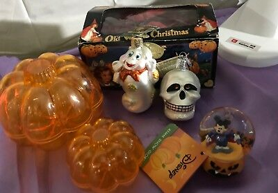 Mixed Lot Halloween Home Decor. Old World Christmas The Skull Patches the Ghost