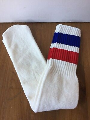 NEW Vintage 70s 80s Over the Calf Tube Socks Blue Red Striped Athletic NOS