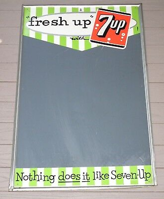 """Circa 1950's """"fresh up with  7up""""  chalkboard tin Seven-Up sign"""