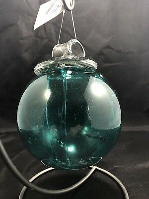 "Kitras Art Glass 6"" Olde English Witch Ball - Teal Blue"