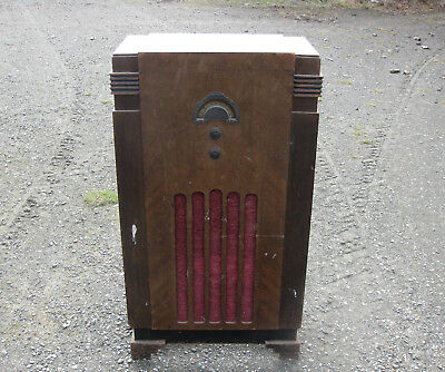 ART DECO VAN RUYTEN FLOOR CABINET RADIO in WORKING ORDER