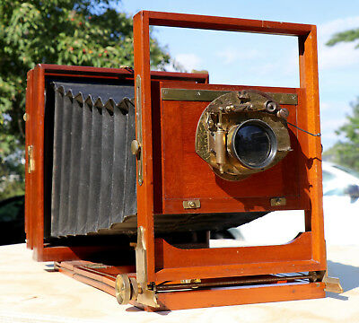 Prosch Triplex Lens on Large Format 8x10 Unidentified Camera Excellent Condition