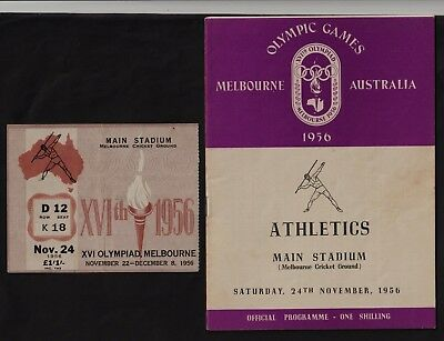 Melbourne 1956 Olympic Games Programme & Admission Ticket.bob Morrow Wins 400M
