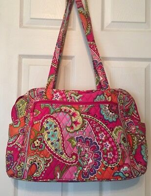 VERA BRADLEY Diaper Baby Tote Bag PINK SWIRLS Carry On Lot of Storage Pockets