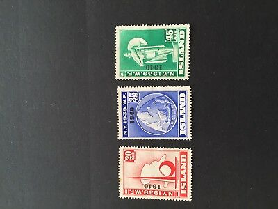 Iceland 1939. Opt. 1940 Set Of 3. 20, 35 & 45 Ore. M/h. 20 Ore Small Rust Spot.