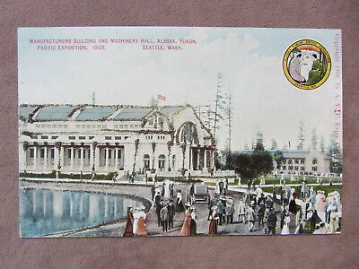 1909 PC Alaska Yukon Pacific Exposition Seattle Manufacturers Building Glitter