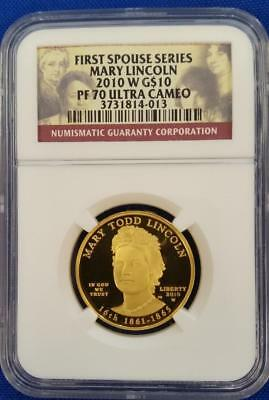 "2010-W US 1/2oz GOLD $10 First Spouse ""MARY LINCOLN"" NGC PF70 Ultra Cameo   L252"