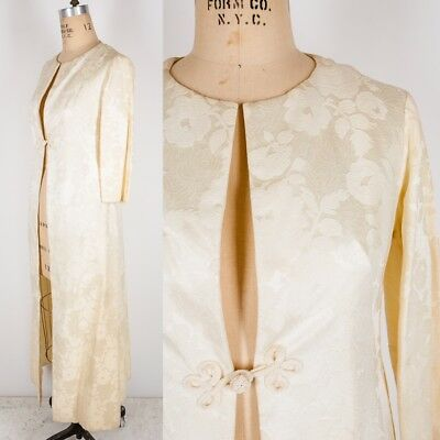 Vtg RARE Diane KLEINFELD 1950s 60s Bridal Coat Jacket Wedding Dress Ivory White