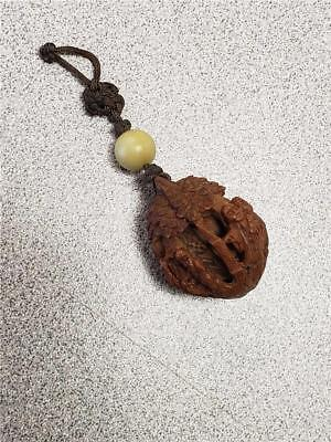 Antique Chinese Hediao carved Nut Pit micro Carving People Pendant