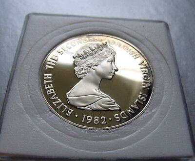 1982 BRITISH VIRGIN ISLANDS PROOF 50 FIFTY CENTS with Holder. Mintage less 2,000