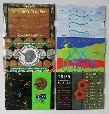 Group of Royal Australian Mint 1990-95 Uncirculated Decimal Coin Sets
