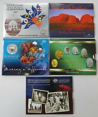 Group of Royal Australian Mint 2001-2005 Uncirculated Decimal Coin Sets