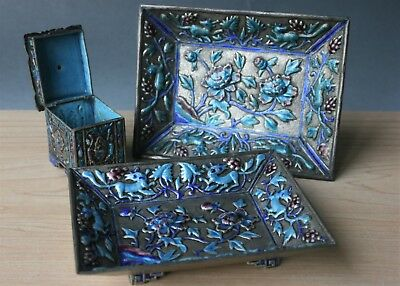 Antique Chinese Silver Plate Bronze Enameled Two Bowls One Covered Box