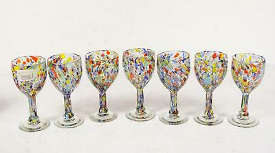 Set Of 7 Hand Painted Studio Art Glass Stemmed Multi-Colored Drinking Glasses
