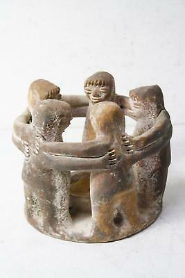 Vintage Hand Crafted Mexican Tribal Folk Art Circle Of Friends Candle Holder