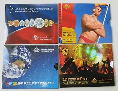 Group of Royal Australian Mint 2006-2009 Uncirculated Decimal Coin Sets
