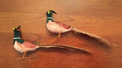 Vintage Pheasant Accent Pieces. Set Of 2 Wire Feet Bird REAL FEATHERS