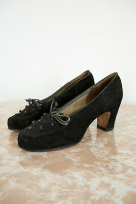 Vintage 1940s 50s MCM Delman Knotted Suede Heels Pinup Pump The Broadway VLV 6A