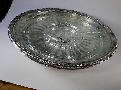 "Vintage Wm Rogers/International Silver Lazy Susan turntable 15"" USA W/Glass Tray"