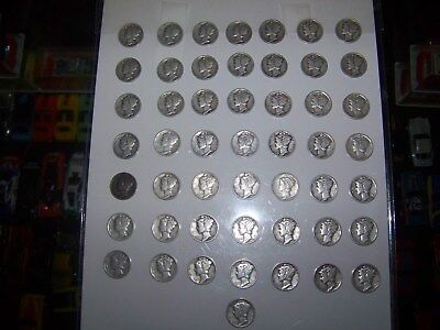 Roll of 50 Silver Mercury DImes  1935 - 1945 G to AU