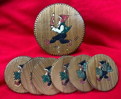Vintage Wood Hand Carved Coaster Set - Gnome - 5 small, 1 larger