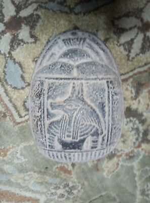 ANCIENT EGYPTIAN ANTIQUE EGYPT Anubis Scarab Hieroglyphs Beetle Carved Stone Bc