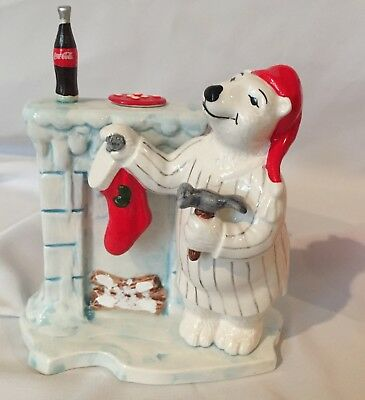 COCA COLA: Porcelain White Bear figurine 1997 Christmas Collection Hanging Stock