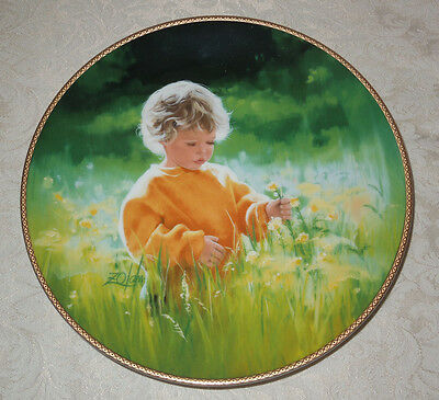 1989 KNOWLES PLATE A Time For Peace COA & BOX Donald Zolan LITTLE BOY in FIELD