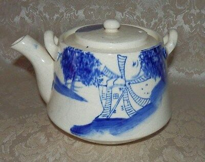 Antique Vintage TEAPOT Made In Japan Flow Blue Windmill