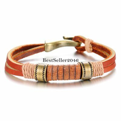 Mens Double Layer Brown Leather String Cord Wrap Braided Rope Bracelet Wristband