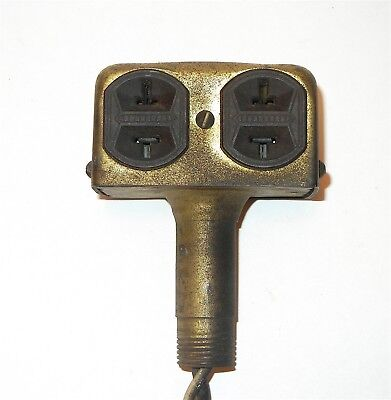 Antique Fullman Mfg Co Brass 4 Gang Plug Electrical Outlet