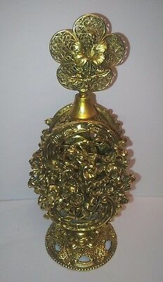 "Vintage 8"" Stylebuilt Heavy Perfume Bottle Ornate Ormolu Filigree Case."