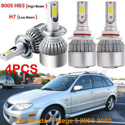 Front  LED Headlight Kits H7 9005 HB3 Bulbs For Mazda Protege 5 2003-2002 4PACK