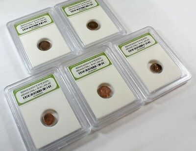 Slabbed Lot of 5 Ancient Roman Widows Mite Sized Bronze Coins c 50 BC - 400 AD h