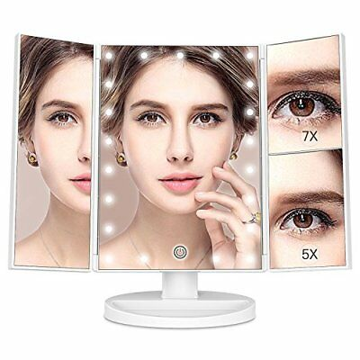 KingKKong Makeup Vanity with 21 LED Lights - 3X/2X Magnifying Makeup Vanity with