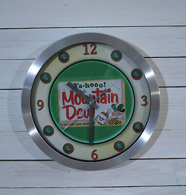Vintage Mountain Dew Soda Cola Wall Clock Large 12 inch Silent Sweep Hand Glass