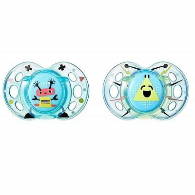 Tommee Tippee Soother Fun Style 6-18m Robot Blue / Blue 1 2 3 6 12 Packs
